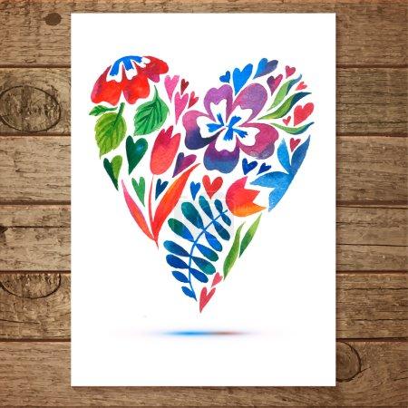 Watercolor floral heart