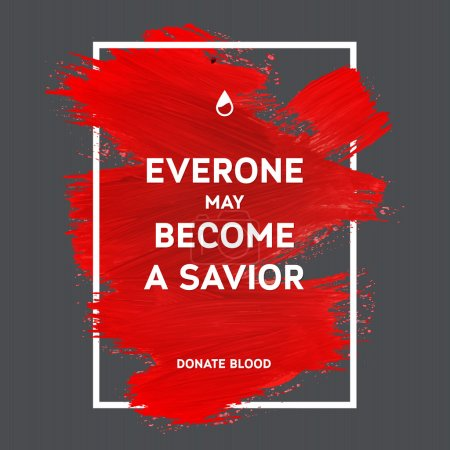 Illustration for Creative Donate blood motivation information donor poster. Blood Donation. World Blood Donor Day banner. Red stroke and text. Medical design elements. Grunge texture. - Royalty Free Image