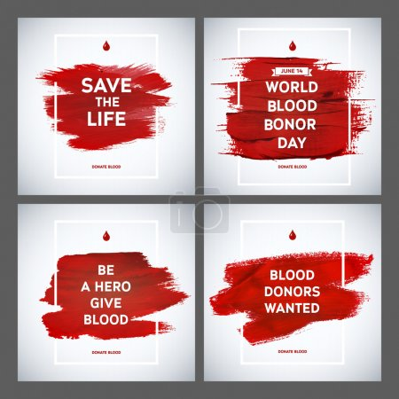 Photo for Creative Blood Donor Day motivation information donor poster set. Blood Donation. World Blood Donor Day banner. Red stroke and text. Medical design elements. Grunge texture. - Royalty Free Image