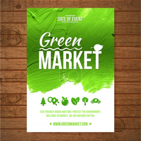 Illustration for Ecology Green market invitation poster. Green stroke trees and shrubs on wood background. - Royalty Free Image