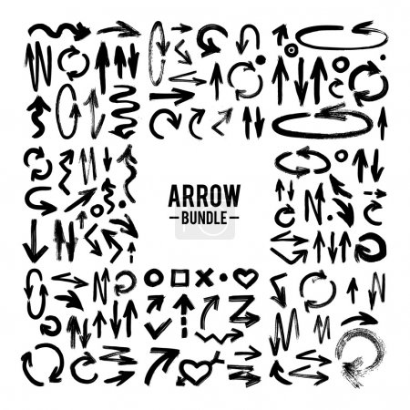 Photo for Vector handdrawn brush stroke arrows collection on white - Royalty Free Image
