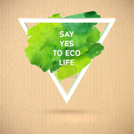 Illustration for Vector eco green watercolor polygonal style ecology theme  on cardboard background - Royalty Free Image
