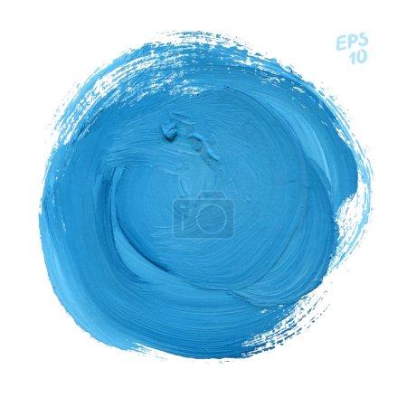 Illustration pour Teinture aquarelle ronde bleue isolée sur fond blanc. Coup de pinceau dynamique. Art Espace abstrait pour le texte - image libre de droit