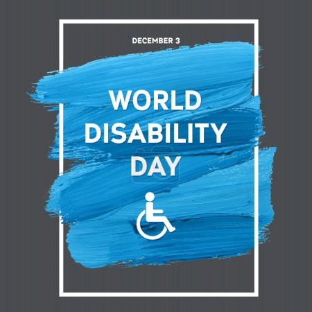 World Disability Day Typography Watercolor Brush Stroke Design , vector illustration. Grunge Effect Important Day Poster
