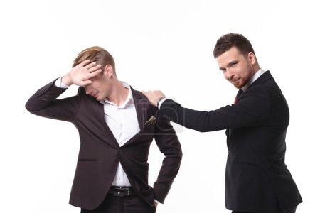 Two businessmen having fun