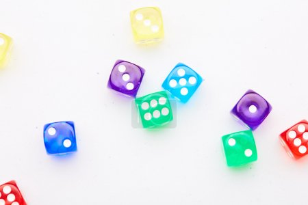 Color dice cubes close-up