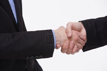 Two businessmen successful handshake