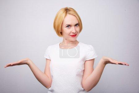 Beautiful blond woman dancing