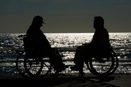 handicapped wheelchair by the sea