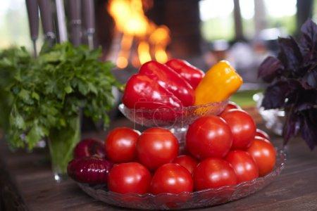 Fresh vegetables on plate