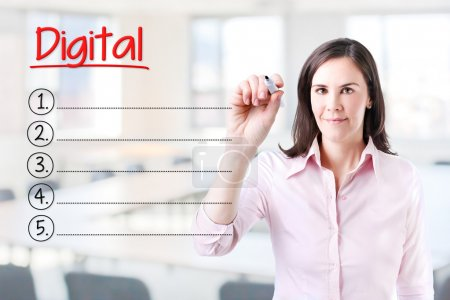 Business woman writing blank Digital list. Office background.