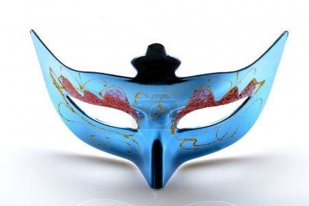 Blue carnival mask on a white background