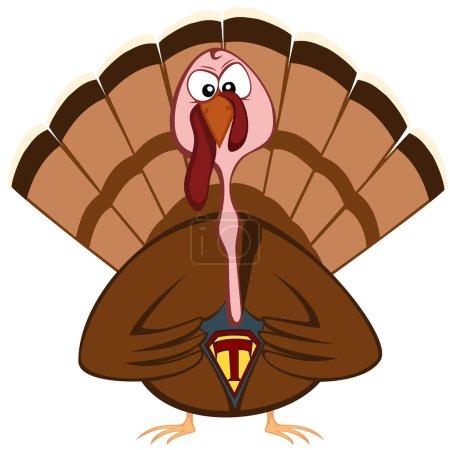 Illustration for Superhero-turkey is not kidding! - Royalty Free Image