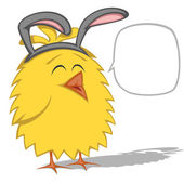 Cute yellow chicken (chickling) is wearing Easter Bunny ears with speech bubble