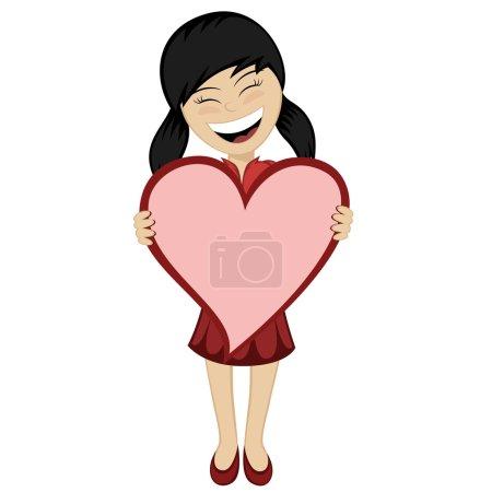 Illustration pour Une petite fille aux cheveux noirs avec un grand cœur rose - image libre de droit