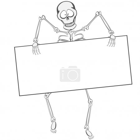 Illustration for A funny skeleton is walking towards you like a zombie holding a whiteboard (you can place your text or ad here!) - Royalty Free Image
