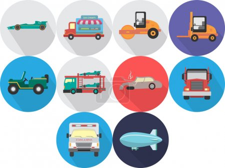 Illustration for Set of great flat icons with style long shadow icon and use for transportation, public transit, car and much more. - Royalty Free Image