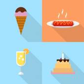 Set of great flat icons with style long shadow icon and use for food drink and much more