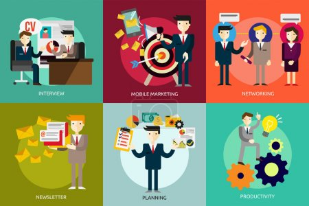 Illustration for Set of great flat icons design illustration concepts for business, finance, marketing, internet marketing and e-commerce, promo, web, and much more. The set can be used for several purposes like: websites, print templates, presentation templates, pro - Royalty Free Image