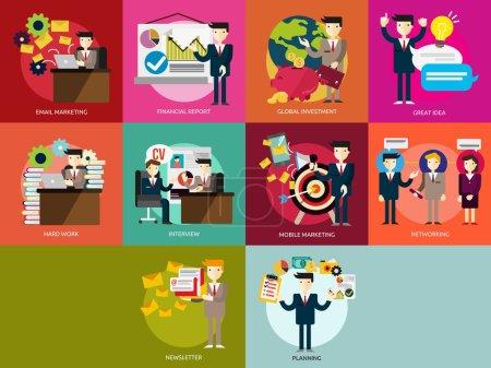 Illustration pour Ensemble de grands concepts d'illustration de conception d'icônes plates pour les entreprises, la finance, le marketing, le marketing Internet et le commerce électronique, promo, web, et bien plus encore. L'ensemble peut être utilisé à plusieurs fins telles que : sites Web, modèles d'impression, modèles de présentation, pro - image libre de droit