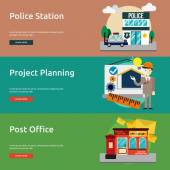 Set of great flat icons design illustration concepts for building construction public place banner  and much more The set can be used for several purposes like: websites print templates presentation templates