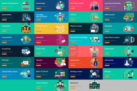 Photo for Set of great flat icons design illustration concepts for education, science, learning, study, banner  and much more. The set can be used for several purposes like: websites, print templates, presentation templatesSet of great flat icons design illust - Royalty Free Image