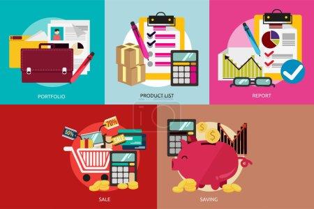 Illustration pour Ensemble de grandes icônes plates avec l'icône longue ombre de style et l'utilisation pour les affaires, le marketing, le travail, l'idée, l'événement et bien plus encore . - image libre de droit