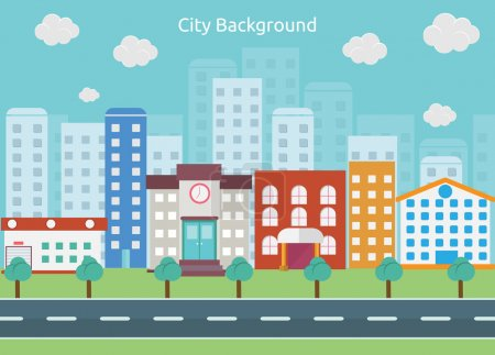 Illustration for City Background is a big city with small and medium business, the city building included school, apartment, house, hotel and more, can be customization, scalable, resizeble, editable, and change color. - Royalty Free Image