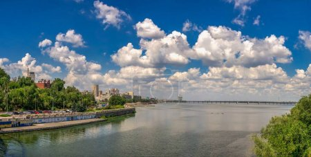 Photo for Dnipro, Ukraine 07.18.2020. Big size panoramic view of the Dnieper river and  embankment of Dnipro in Ukraine on a sunny summer morning - Royalty Free Image