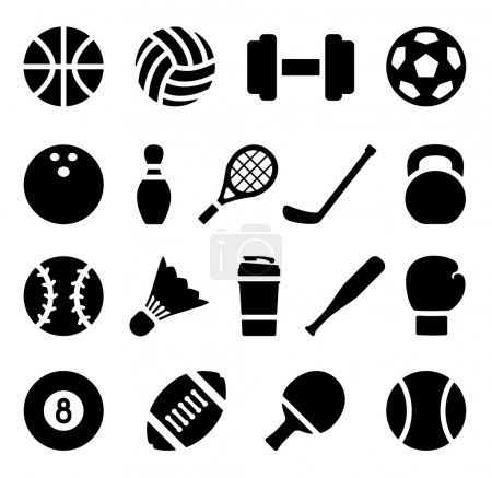Icon set of black simple silhouette of sports equipment in flat design