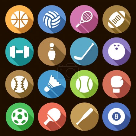 Set of round flat simple icons of sports equipment with shadow effect