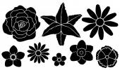 Set of silhouettes of flowers
