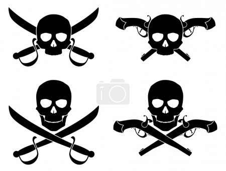 Silhouette of the Jolly Roger with crossed saber and pistol