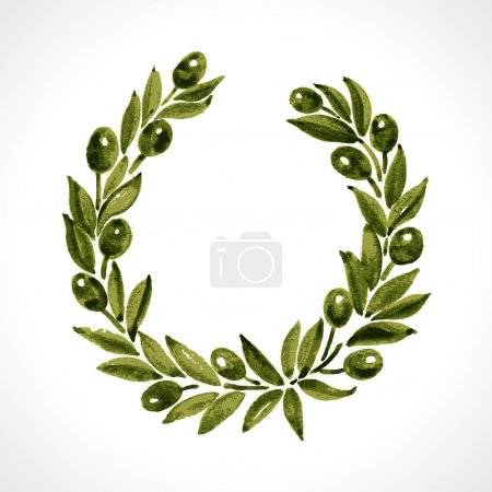 Aquarelle laurel wreath and olive branch