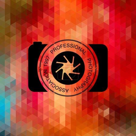 Illustration pour Collection vectorielle de modèles de logo de photographie. Logotypes Photocam. Fond géométrique coloré lumineux . - image libre de droit