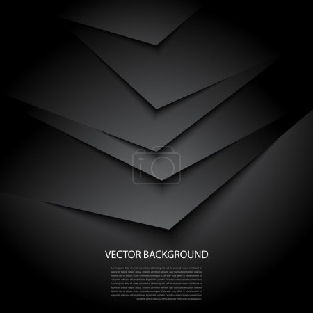Black abstract vector background with shadows...