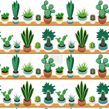 Seamless pattern of cactuses and succulents in pots.