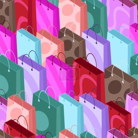 Illustration pour Modèle sans couture de sacs à provisions. Fond sans couture de sacs à provisions colorés dans un style isométrique. Illustration vectorielle . - image libre de droit