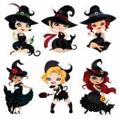Set of 6 charming witches
