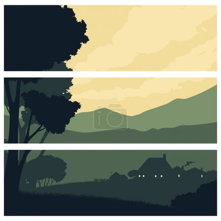 Illustration for Quiet rural landscape with a farm in retro style - Royalty Free Image