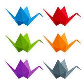 Set of 6 paper multicolored cranes