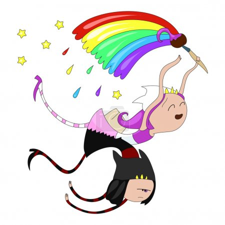 Illustration for Cute cartoon character fairys for your design - Royalty Free Image