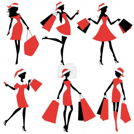 Set of silhouettes of Santa girls with bags in their hands