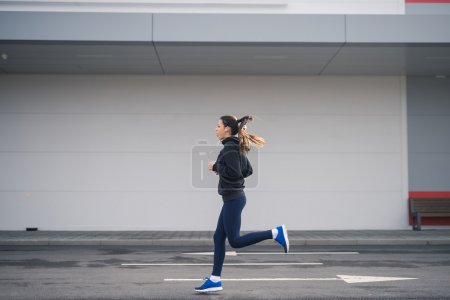 Running outdoors in the city