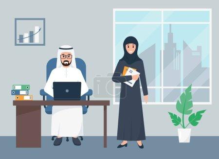 Photo pour Homme d'affaires arabe et femme d'affaires travaillant dans le bureau. Équipe d'affaires de piople arabes en vêtements islamiques traditionnels sur le lieu de travail. Illustration vectorielle plate. - image libre de droit