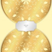 Background image with two circular vertical ornaments of gold color with a tag Vector