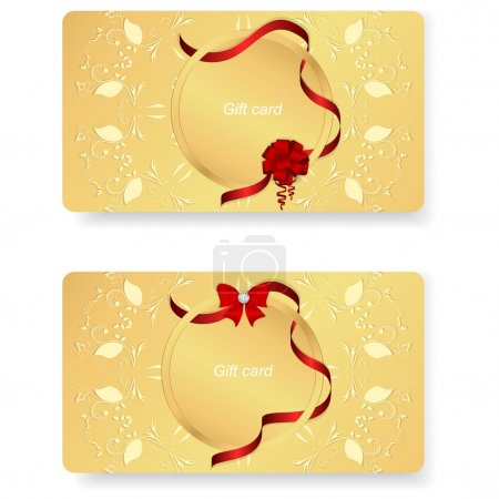 Set of two horizontal gold VIP gift cards with a gold tag and red ribbon with a bow.