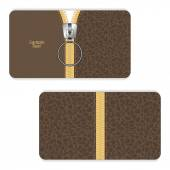 Leather business card brown with a yellow zipper and zipper closing up