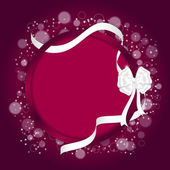 Elegant festive red background with circular curved back and white ribbon with a white bow.