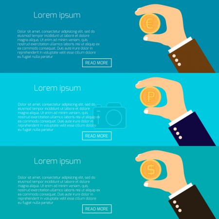 Vector illustration of hands holding gold coins of dollar, euro